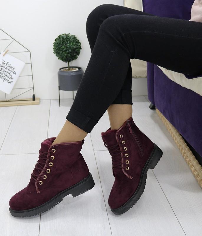 Новые шикарные женские зимние ботинки цвета марсала