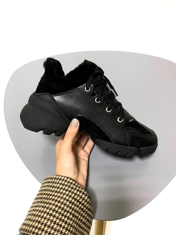 Christian dior black fur 🤗 женские зимние кроссовки с мехом чё...
