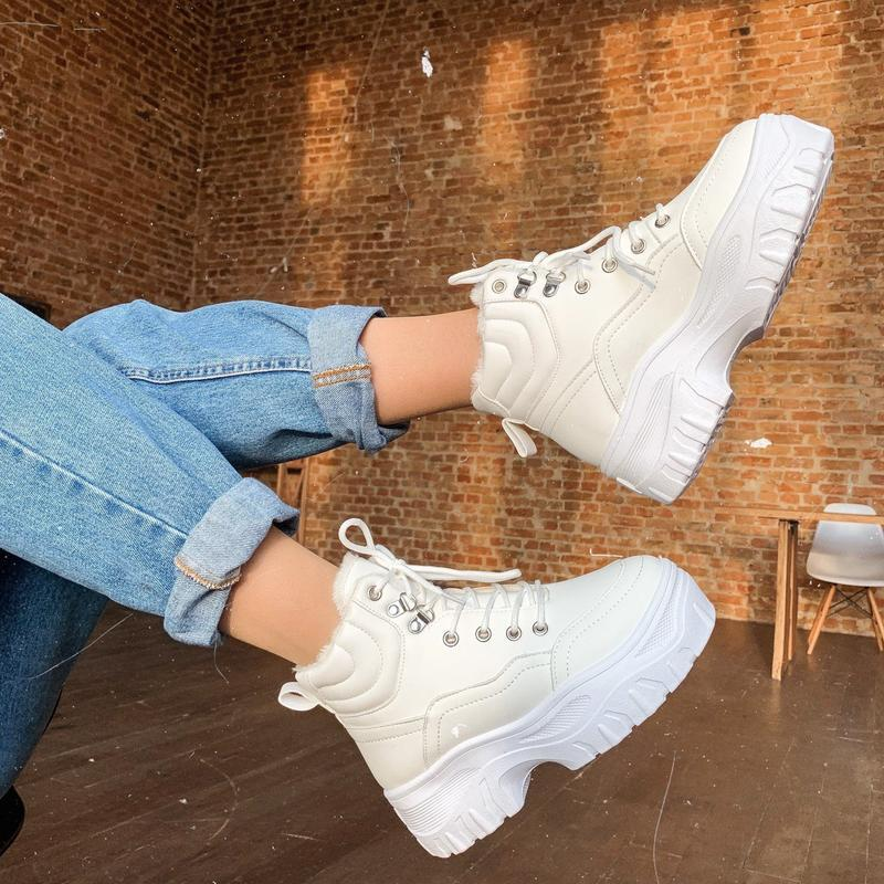 2 цвета! зимние белые ботинки