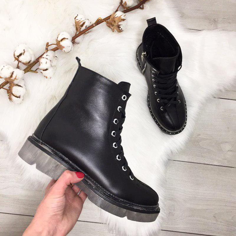 Натуральная кожа! трендовые зимние кожаные ботинки берцы на шн...