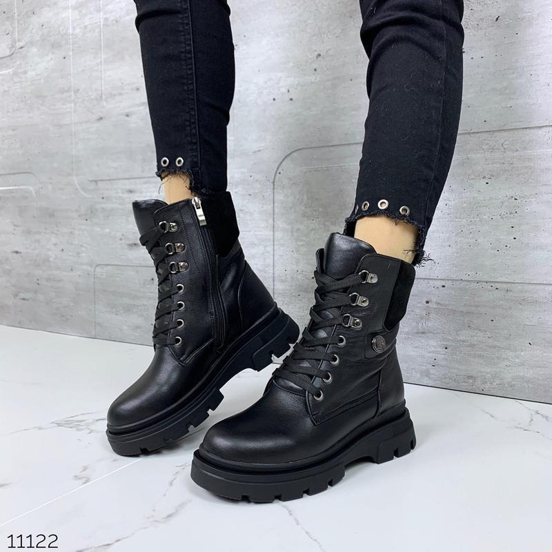 Черные зимние ботинки из натуральной кожи