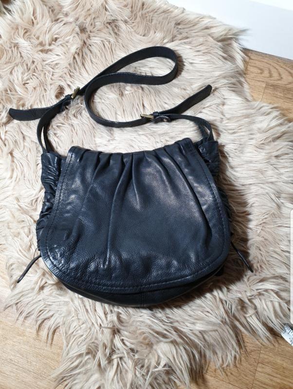 Большая кросс-боди сумка натуральная кожа zara