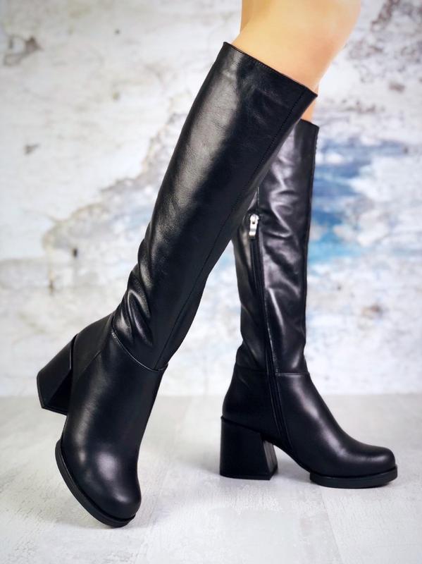 ❤ женские черные зимние кожаные  высокие сапоги полусапожки бо...