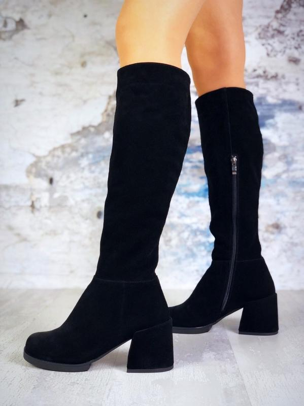 ❤ женские черные зимние замшевые высокие сапоги полусапожки бо... - Фото 2