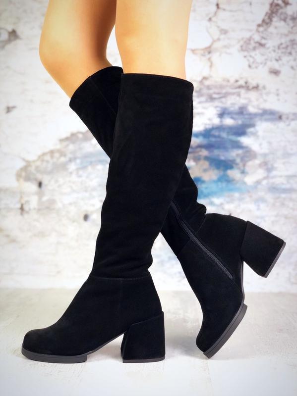 ❤ женские черные зимние замшевые высокие сапоги полусапожки бо... - Фото 3