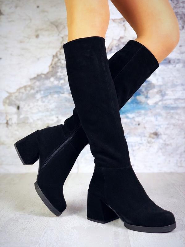 ❤ женские черные зимние замшевые высокие сапоги полусапожки бо... - Фото 4