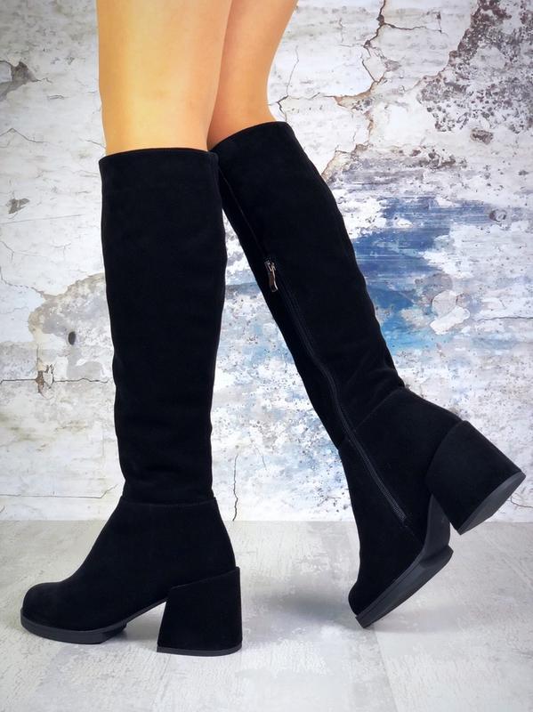 ❤ женские черные зимние замшевые высокие сапоги полусапожки бо... - Фото 5
