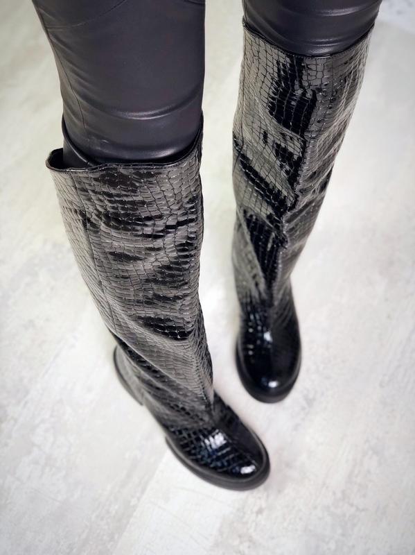 ❤ женские черные осенние деми кожаные ботинки сапоги полусапож... - Фото 2