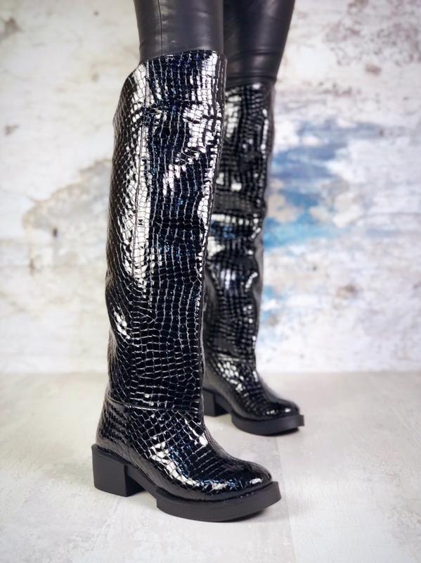 ❤ женские черные осенние деми кожаные ботинки сапоги полусапож... - Фото 3