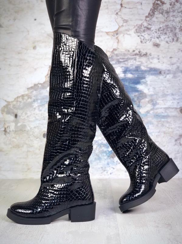 ❤ женские черные осенние деми кожаные ботинки сапоги полусапож... - Фото 5