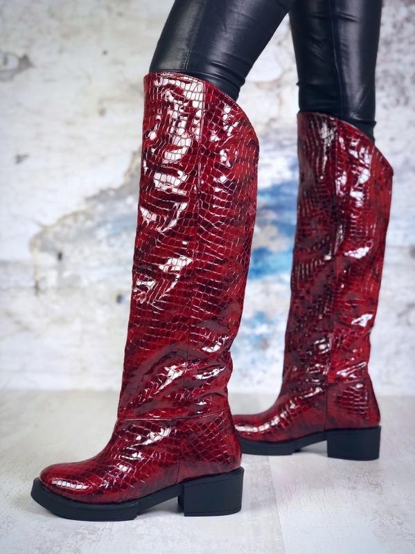 ❤ женские бордовые зимние кожаные высокие сапоги полусапожки б...