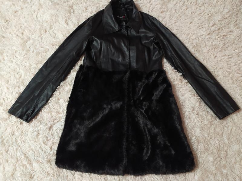 Пальто плащ кож зам и искусственный мех