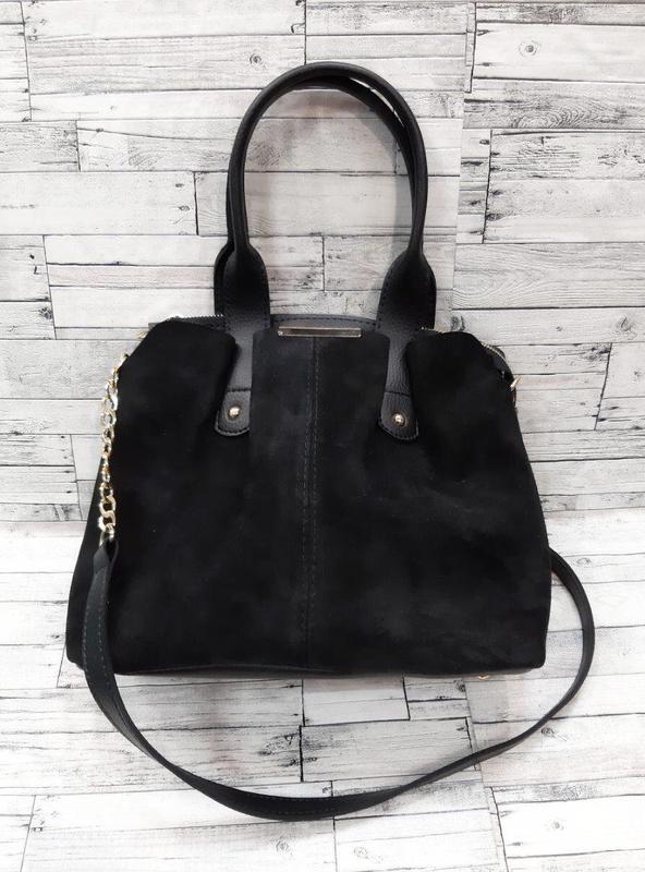 Женская замшевая сумка, черный цвет