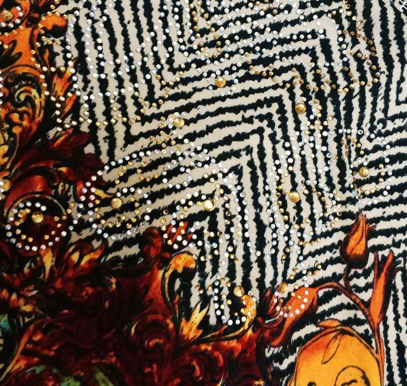 Женский свитер,блуза с оригинальным принтом и стразами с вязан... - Фото 8