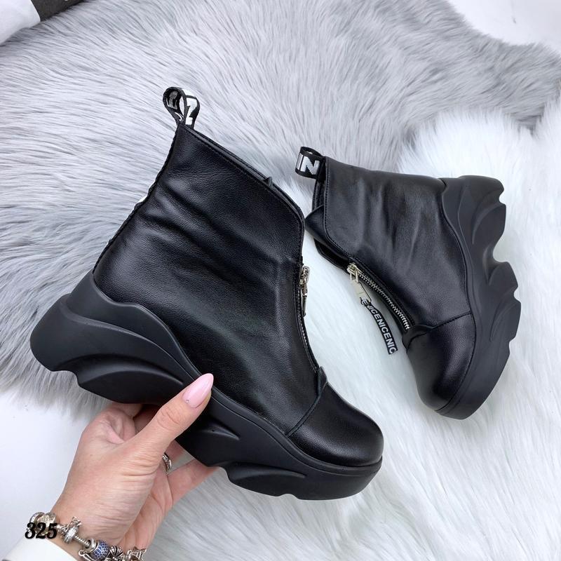 Натуральная кожа! трендовые зимние кожаные ботинки хайтопы на ...