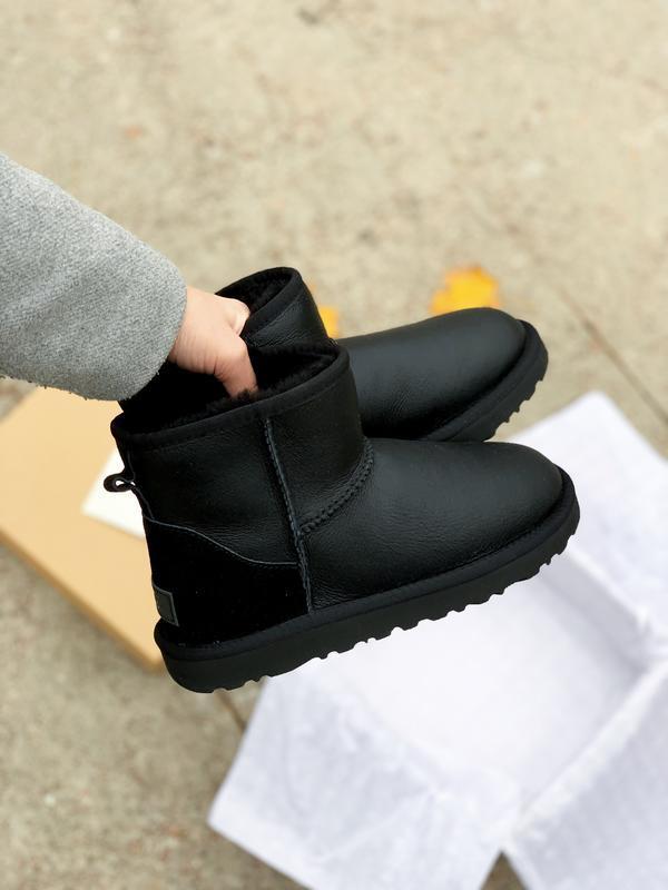 Ugg classic mini black! женские кожаные зимние угги/ сапоги/ б...