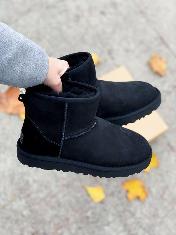 Ugg classic mini black! женские замшевые зимние угги/ сапоги/ ...
