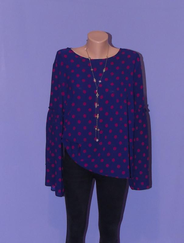 Темно-синяя блузочка в горошках primark