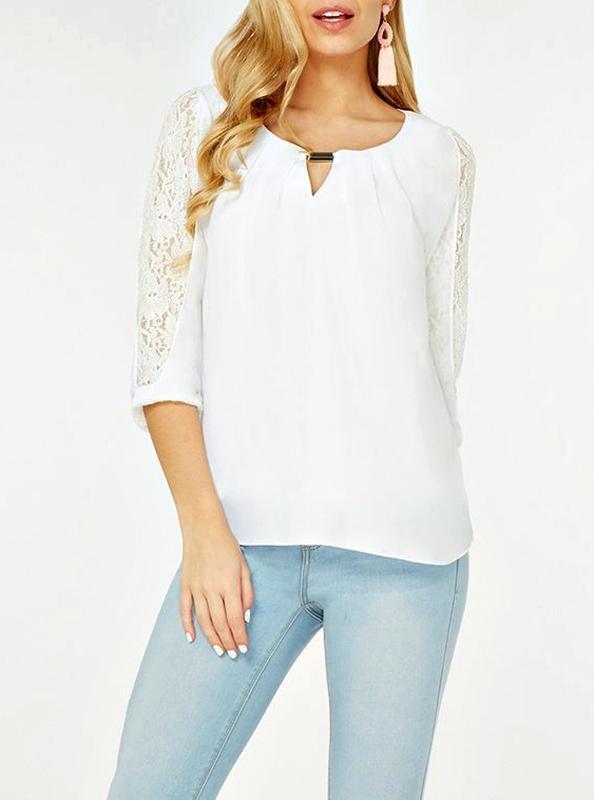 Нежная блуза с красивыми кружевными рукавами р.16