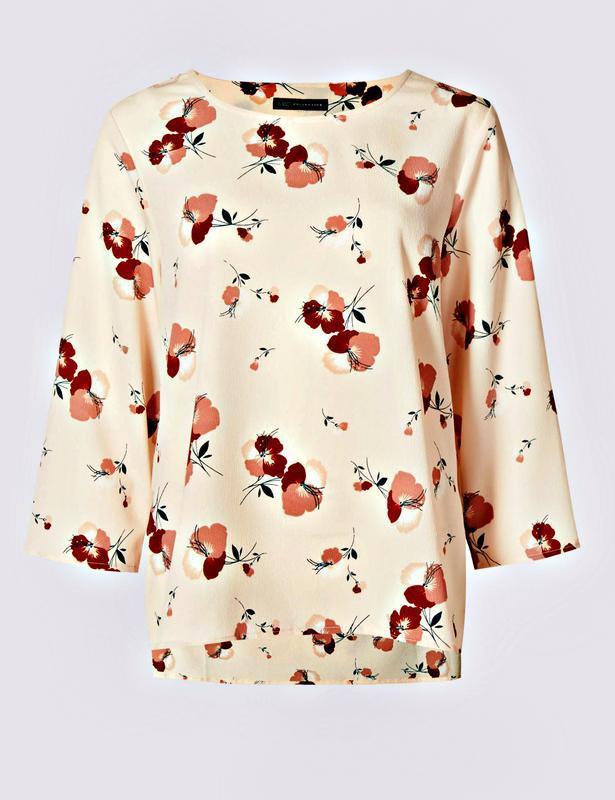 Матовая персиковая блуза с цветочным принтом р.24