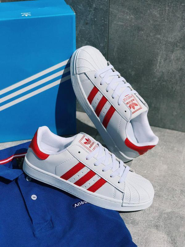 Шикарные мужские белые кроссовки adidas superstar white red 😍