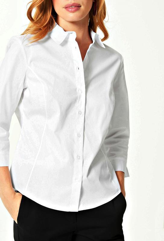 Белоснежная рубашка с силуэтными вытачками р.18