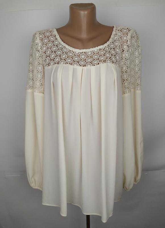 Блуза шикарная кремовая с кружевной кокеткой marks&spencer uk ...