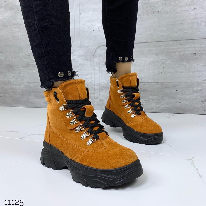 ❤ женские горчичные зимние замшевые ботинки сапоги полусапожки...