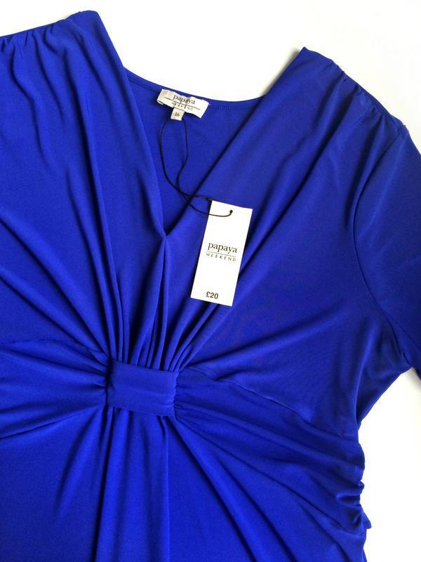 Распродажа! мягкое силуэтное платье эффектного синего цвета р.16