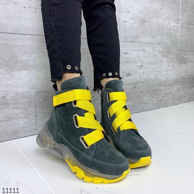 ❤ женские серые зимние зимние ботинки сапоги полусапожки ботил...