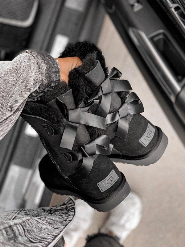 Ugg bailey bow black! женские замшевые зимние угги/ сапоги/ бо...