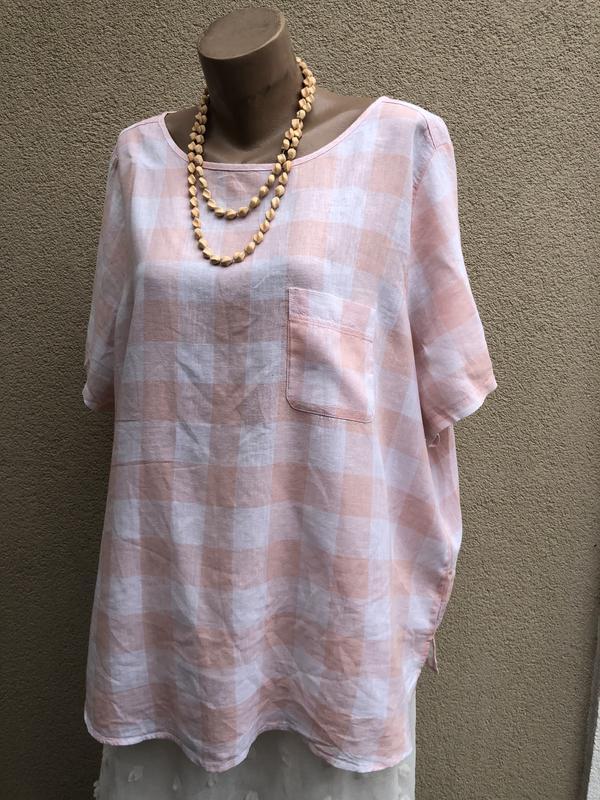 Блуза лён,рубашка в розовую клетку,большой размер,батал,этно,бохо