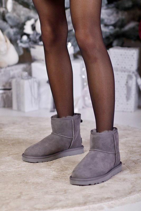 Ugg clasic mini gray! женские замшевые зимние угги/ сапоги/ бо...