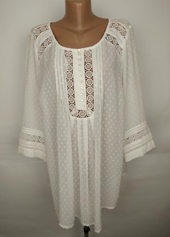 Блуза белая красивая кружевная большого размера tu uk 18/46/xxl