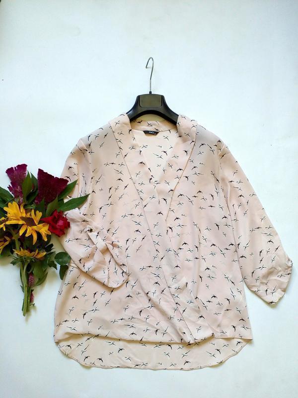 Лёгкая блуза с эффектом запаха в птички 16