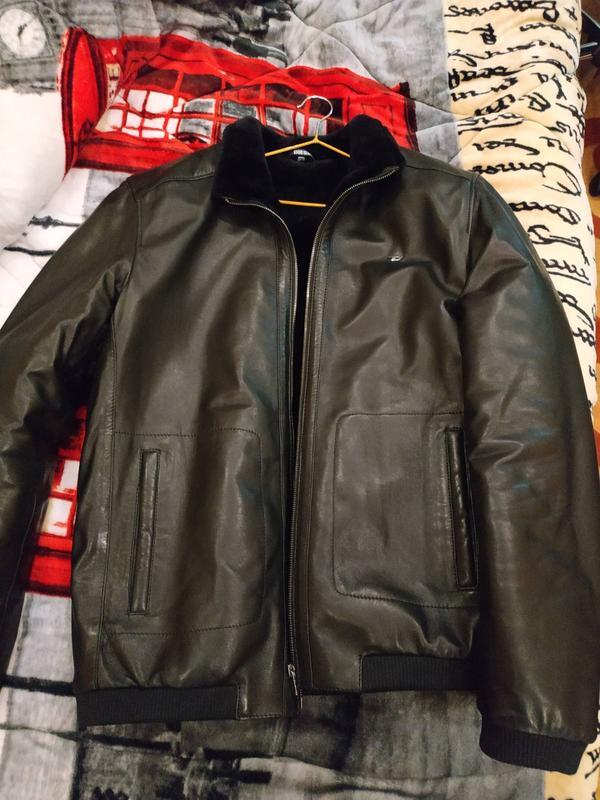 Кожаная новая зимняя куртка