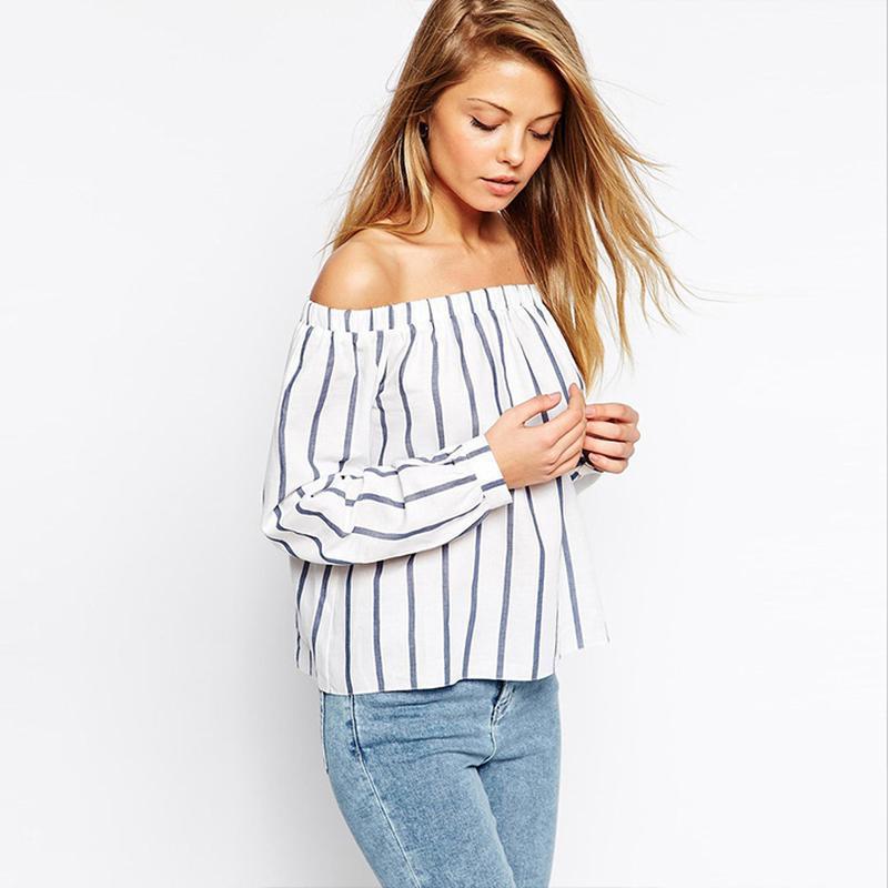 Стильная полосатая блузка с открытыми плечами atmosphere разме...