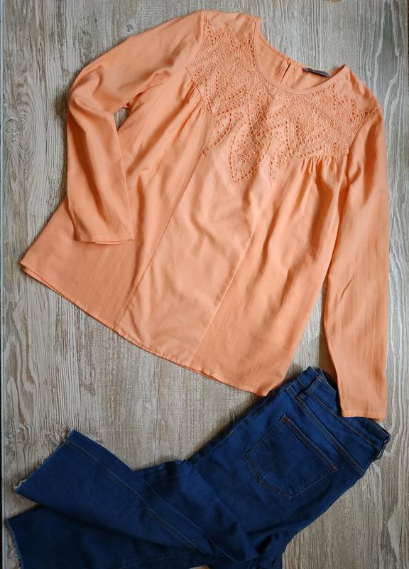 Лёгкая персиковая блуза m&s размер 16