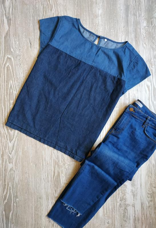 Стильная джинсовая блузка c&a размер 14