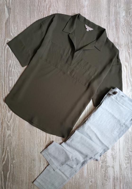 Свободная блузка хаки antology размер 12, можно 14