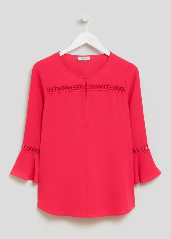 Малиновая блузка с воланами на рукавах soon размер 22
