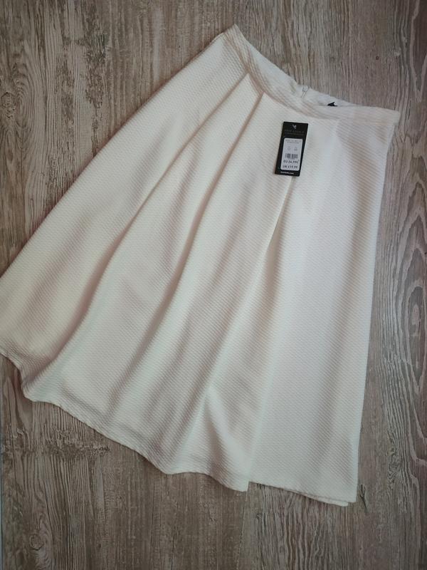 Вафельная юбка колокол, длина миди new look размер 12