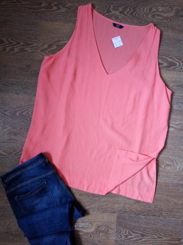 Персиковая блузка без рукавов f&f р22