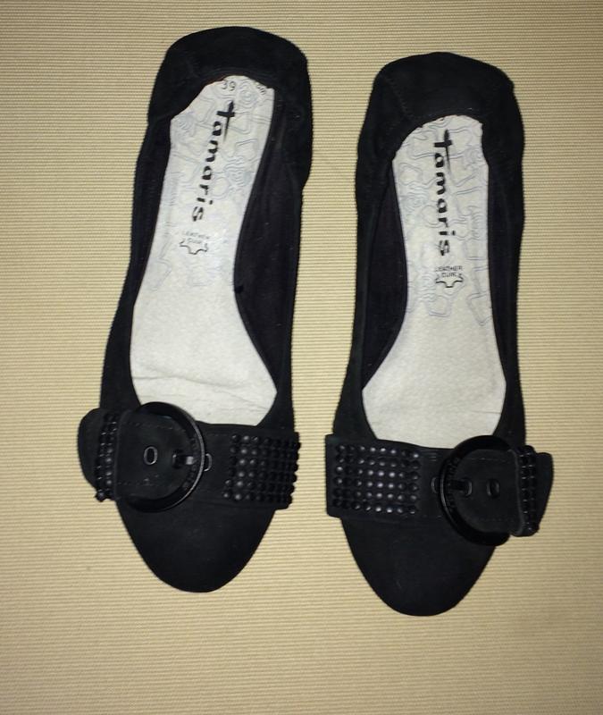 Туфли-балетки.черный замш.