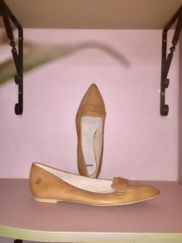 Легкие летние туфли балетки  лодочки без каблука с зауженным н...