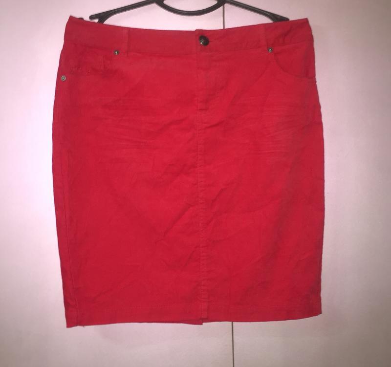 Вельветовая мини-юбка  карандаш насыщенного красного цвета «or...