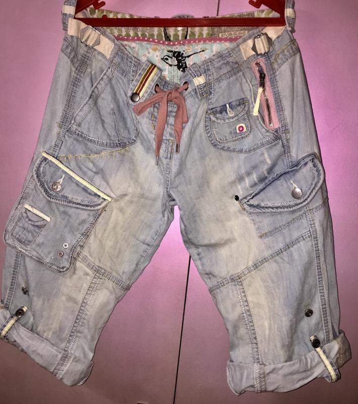 Голубые джинсовые длинные  шорты бриджи «river island»