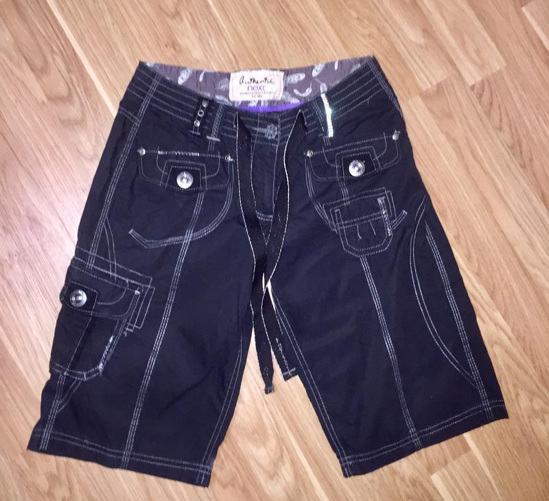 Легкие шорты темно синие из натуральной ткани next