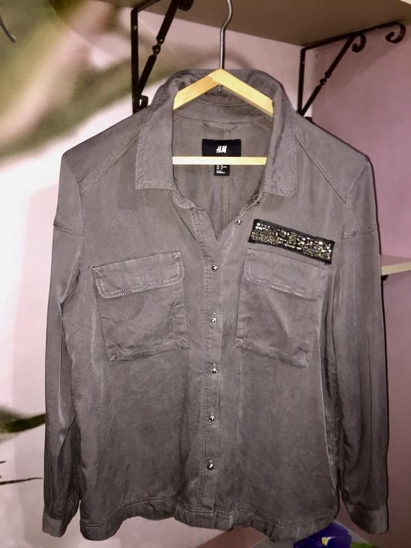Серая рубашка блузка из натуральной ткани h&m