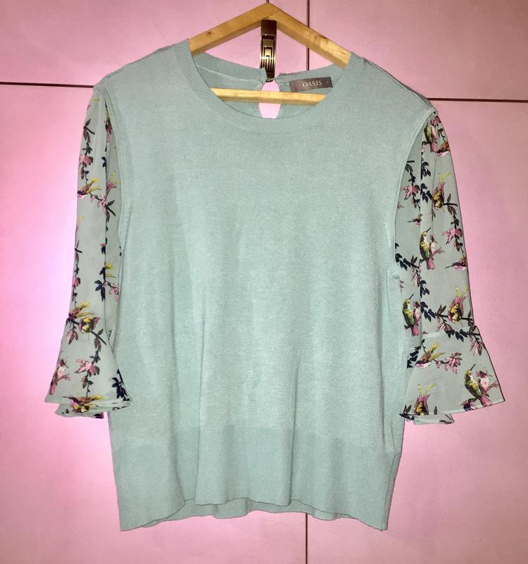 Свитер блузка бирюзового цвета с прозрачным рукавом